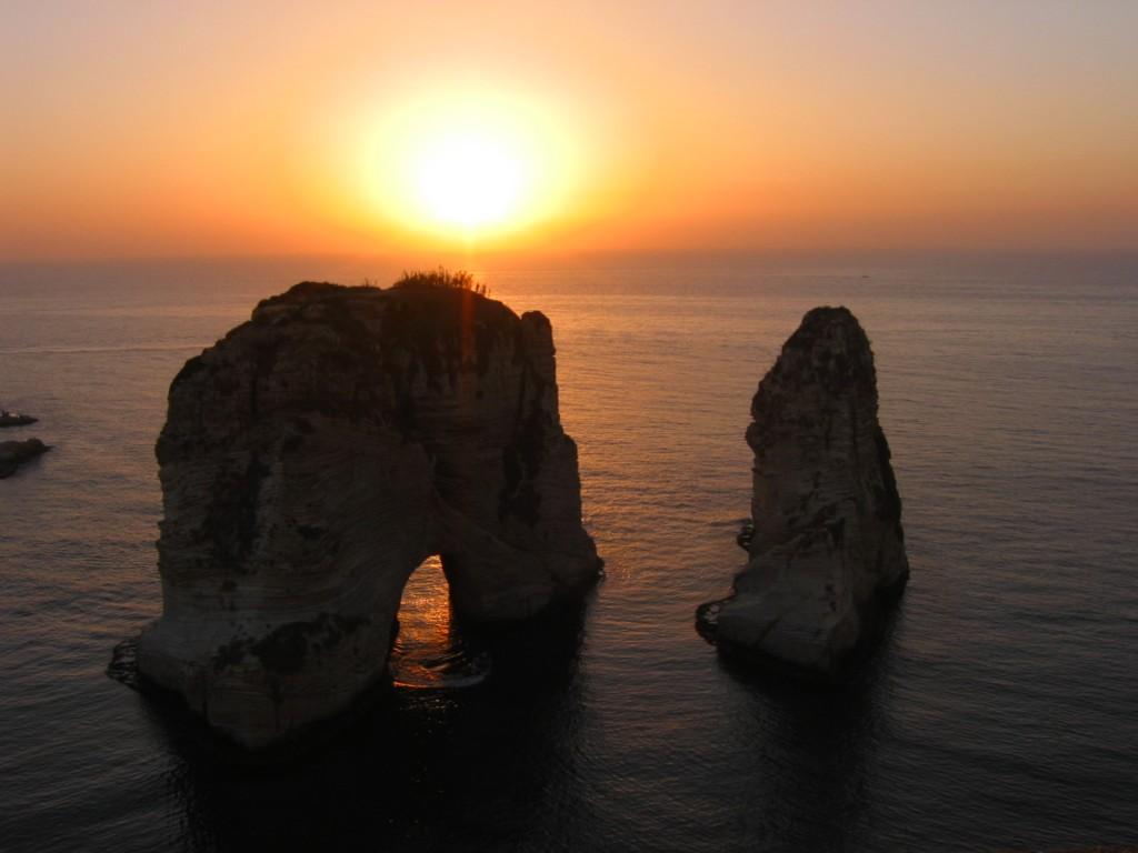 sunset over pigon rocks in beirut